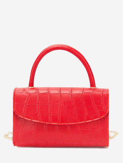 Croc Printed Chain Crossbody Bag - Red