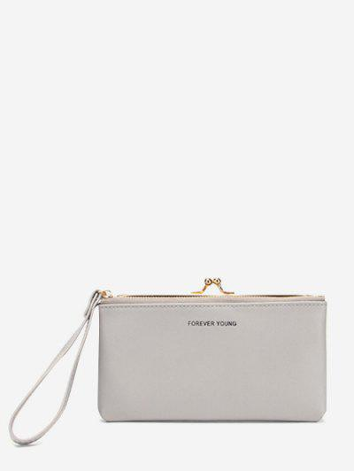 Letter Print PU Clutch Bag - Light Gray Regular