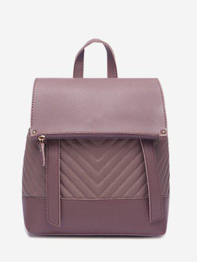 Flap Chevron-Quilted Topstitching Spliced Backpack - Dull Purple