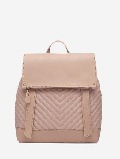Flap Chevron-Quilted Topstitching Spliced Backpack - Apricot