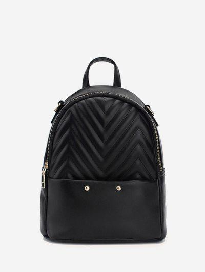 Stitching Chevron Pattern PU Backpack - Black