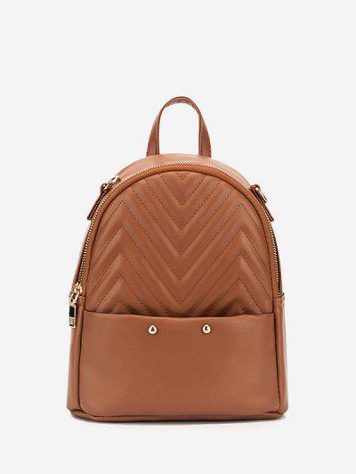 Stitching Chevron Pattern PU Backpack - Camel Brown