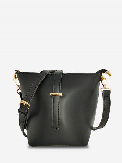 Square Large Capacity Topstitching Shoulder Bag - Black