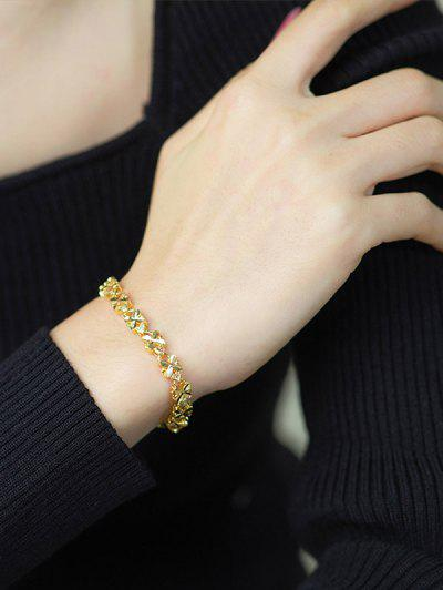 Four-leaf Plated Gold Chain Bracelet - Golden