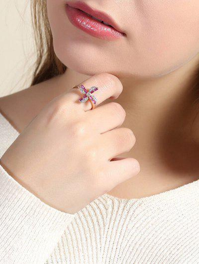Rhinestone Floral Pattern Plated Gold Cuff Ring - Bright Neon Pink