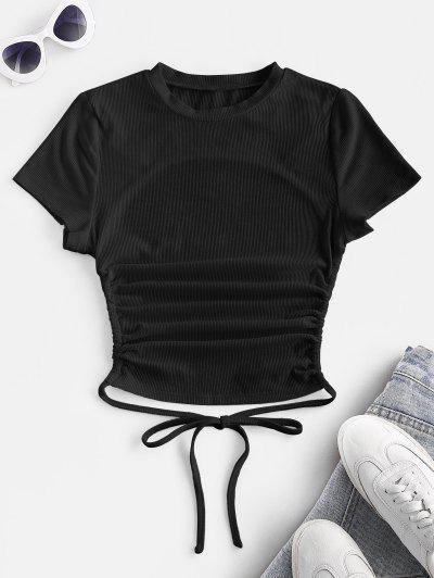 ZAFUL Geripptes Kurzärmliges Basik T-Shirt Mit Offenem Rücken - Schwarz S