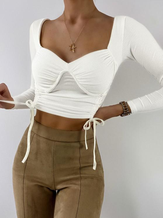 womens Ribbed Cinched Bustier Cropped Top - CRYSTAL CREAM S