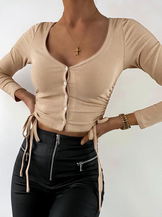 fashion ZAFUL Ribbed Cinched Button Up Crop T Shirt - LIGHT KHAKI L