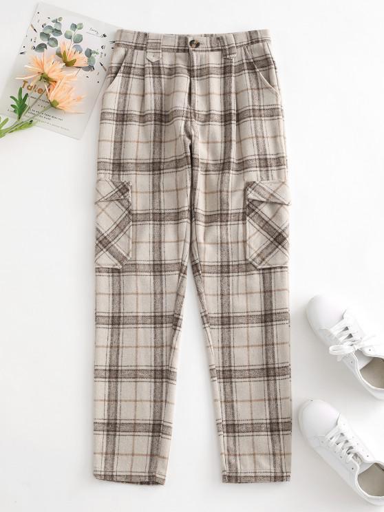 chic Plaid Wool Blend Flap Pocket Straight Pants - LIGHT COFFEE S