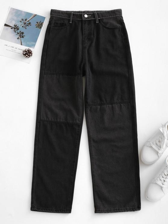 Bicolor Patchwork Straight Jeans - أسود M