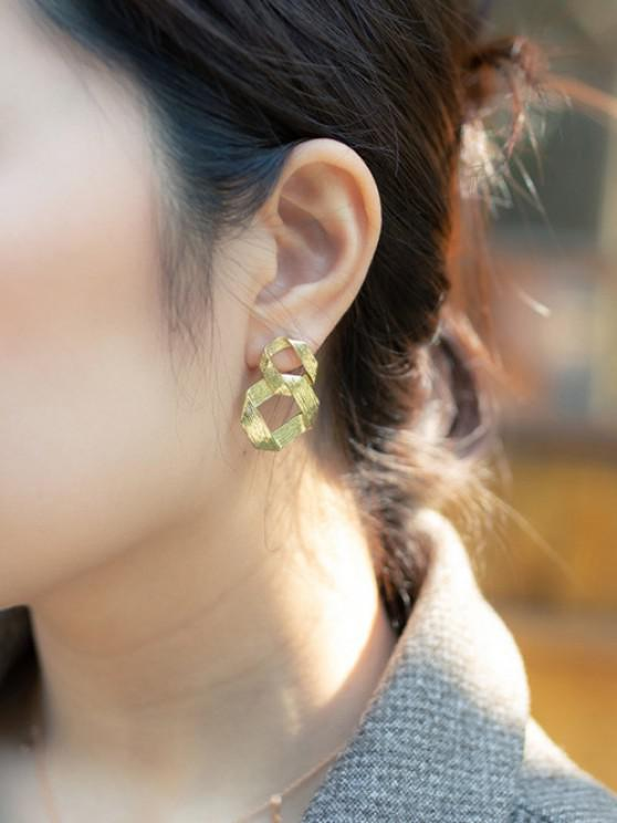 Golden Interlocked Ring Plated Drop Earrings - ذهبي