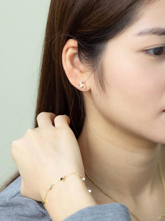 Golden Knot Zircon Plated Stud Earrings - ذهبي