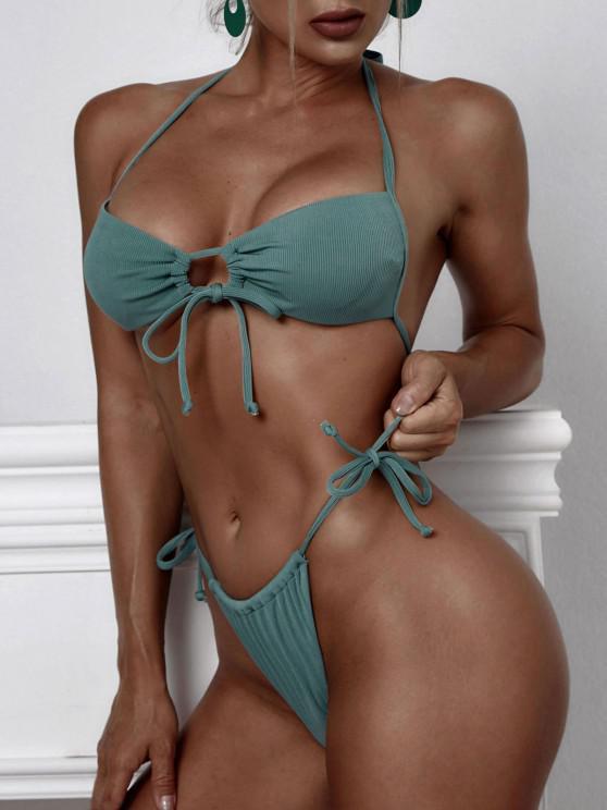 ZAFUL Ribbed Drawstring Loincloth Bikini Swimwear - أخضر S