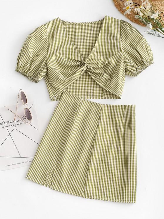 chic ZAFUL Gingham Puff Sleeve Front Twist Two Piece Skirt Set - LIGHT GREEN M