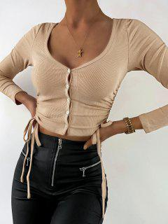 ZAFUL Ribbed Cinched Button Up Crop T Shirt - Light Khaki Xl