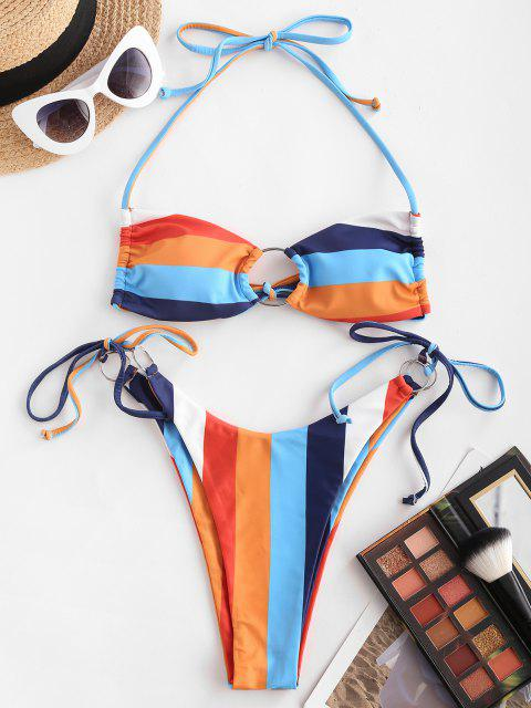 ZAFUL Regenbogen O Ring Schnur Bikini Badebekleidung - Multi S Mobile