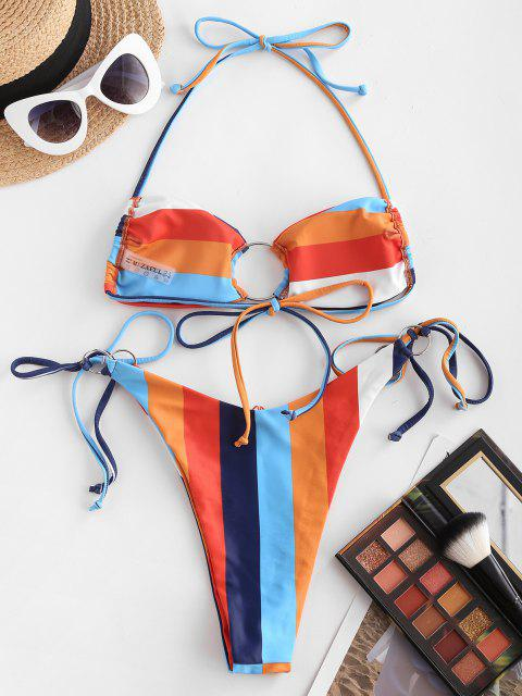 ZAFUL Regenbogen O Ring Schnur Bikini Badebekleidung - Multi M Mobile