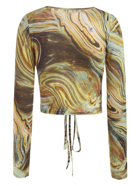 trendy Agate Print Cutout Cinched Tie Baby Tee - LIGHT COFFEE S Mobile