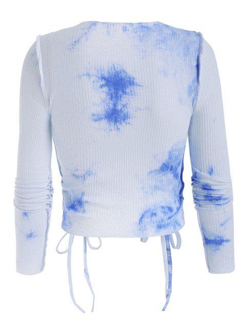 fashion Stitching Tie Dye Ribbed Cinched Tee - SKY BLUE S Mobile