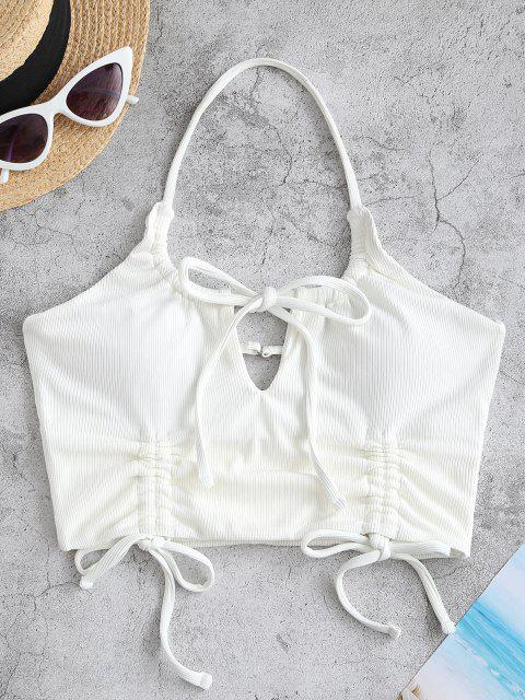 lady ZAFUL Halter Ribbed Tie Cinched Cropped Bikini Top - WHITE S Mobile