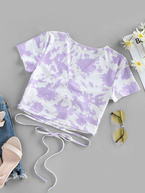 online ZAFUL Tie Dye Ribbed Ruched Cutout Crop T-shirt - MAUVE XL Mobile