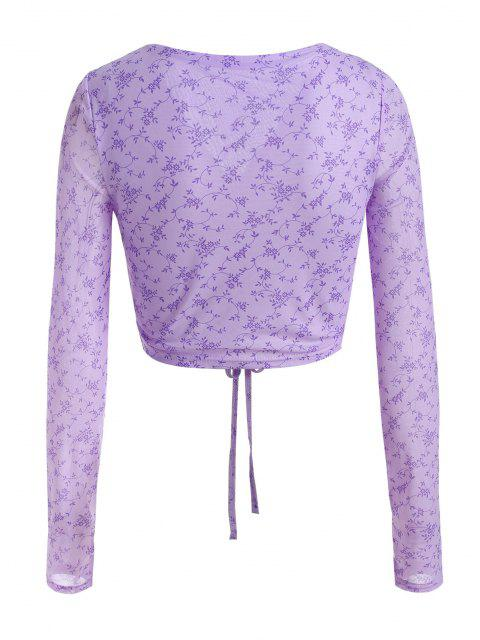 fancy Flower Print Mesh Cinched Crop T Shirt - LIGHT PURPLE S Mobile