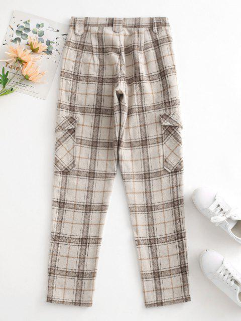 chic Plaid Wool Blend Flap Pocket Straight Pants - LIGHT COFFEE S Mobile