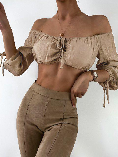 buy Cropped Cinched Off Shoulder Top - CAMEL BROWN ONE SIZE Mobile