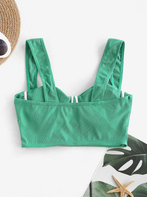 best ZAFUL Sweetheart Ribbed Underwire Balconette Bikini Top - GREEN S Mobile