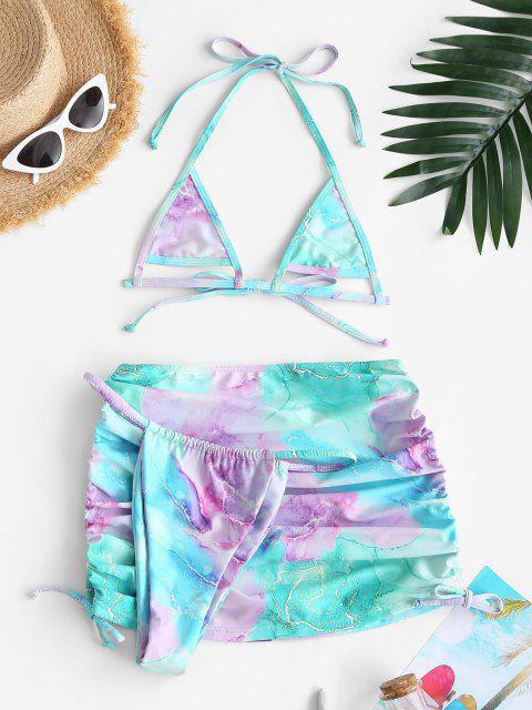shops ZAFUL Cinched Colorful Marble Three Piece Micro Bikini Swimwear - LIGHT BLUE M Mobile