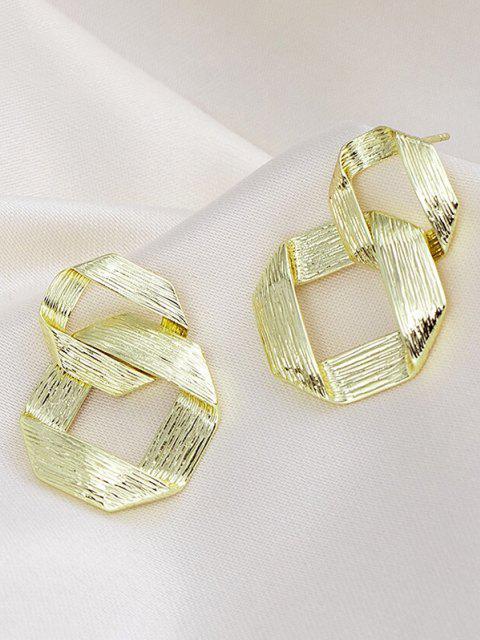 new Golden Interlocked Ring Plated Drop Earrings - GOLDEN  Mobile