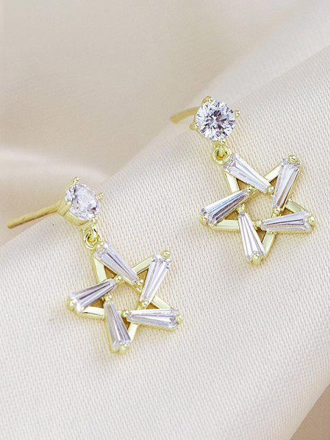 online Hollow-Out Star Zircon Stud Drop Earrings - GOLDEN  Mobile