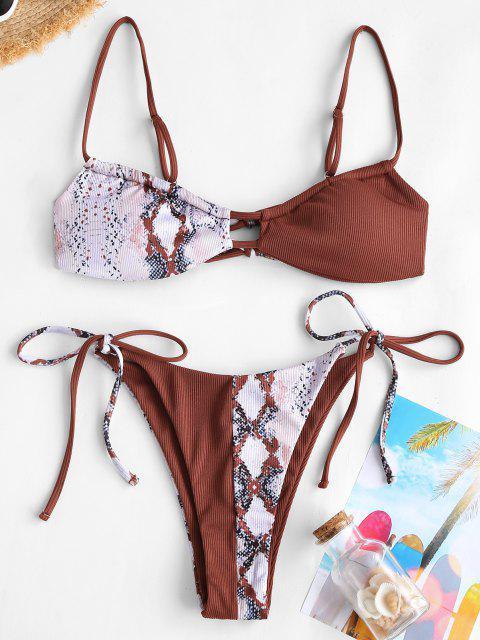 ZAFUL Gerippter Halbgeknöpftes Schnur Bikini Badebekleidung - Kaffee S Mobile