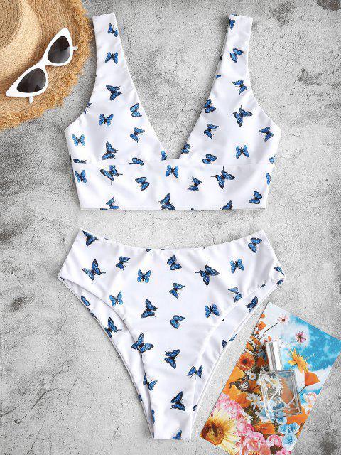 ZAFUL Tankini Badebekleidung mit Tiefem Schnitt und Schmetterlingsmuster - Weiß S Mobile