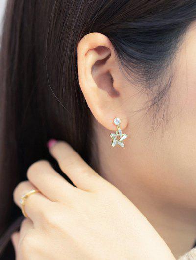 Hollow-Out Star Zircon Stud Drop Earrings - Golden