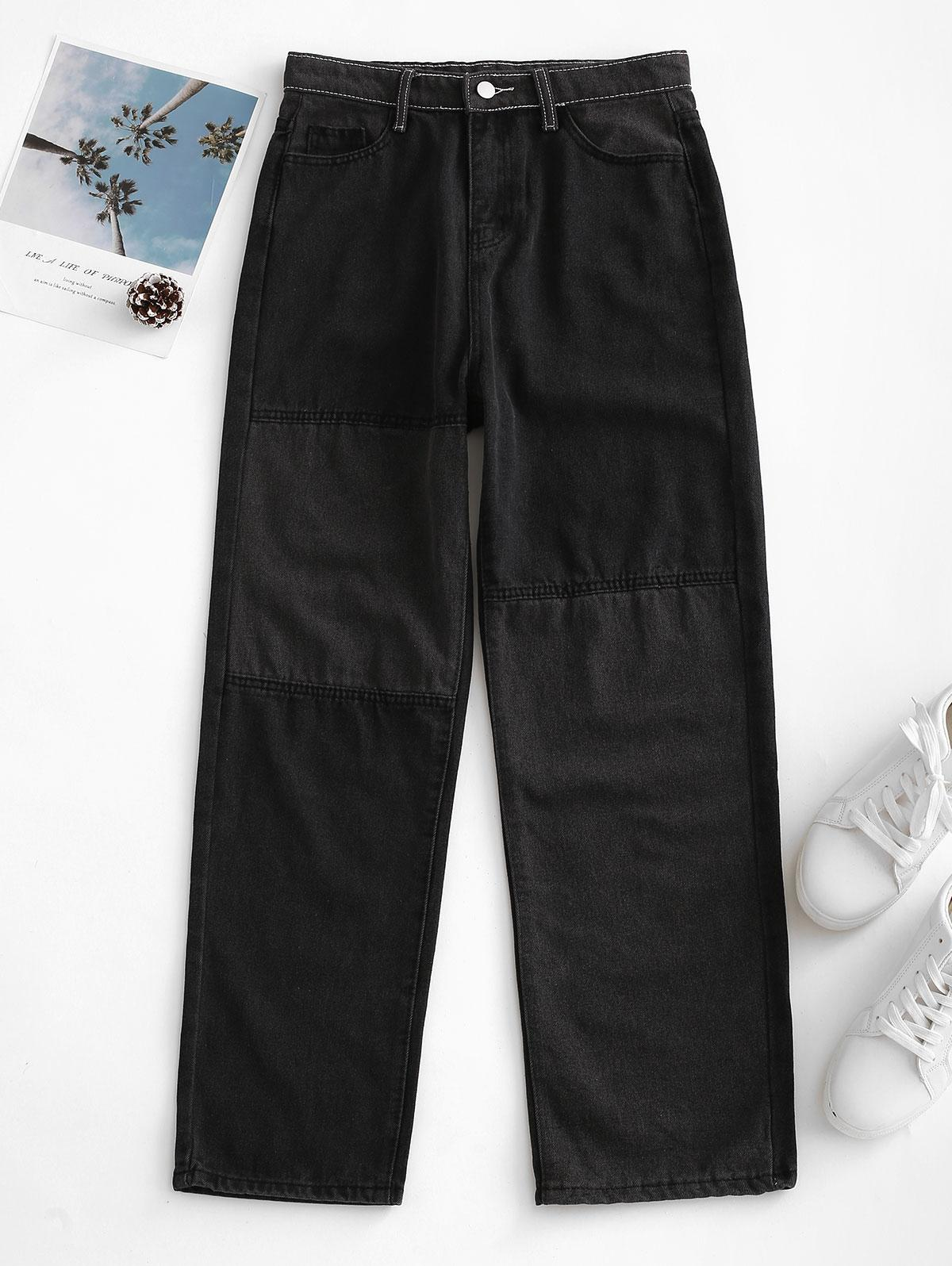 Bicolor Patchwork Straight Jeans