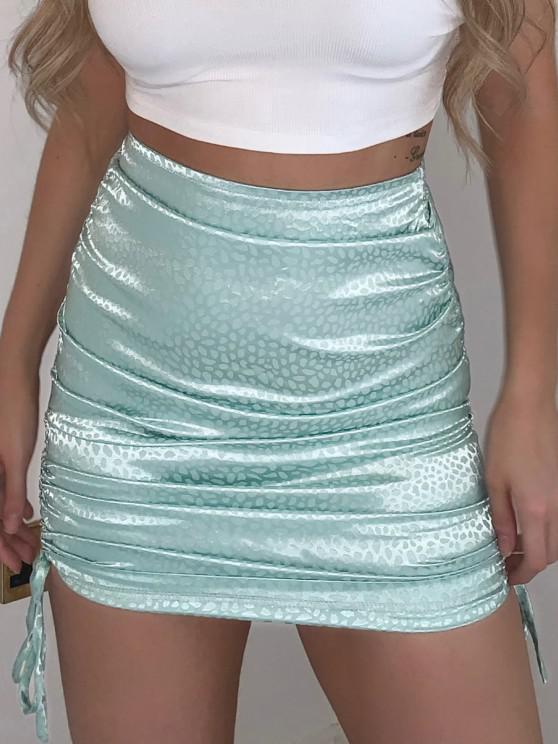 ladies Side Cinched Jacquard Satin Skirt - LIGHT BLUE M