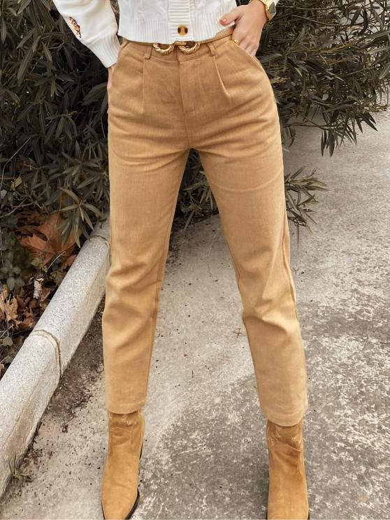 women's ZAFUL Pocket Zipper Fly Straight Pants - LIGHT KHAKI XL