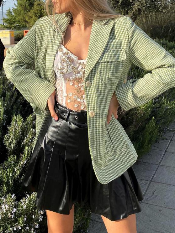 fashion Houndstooth Belted Pocket Blazer - LIGHT GREEN L