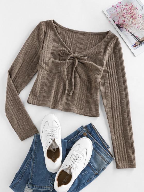 ZAFUL Knitted Tie Front Cropped T Shirt - القهوة العميقة S