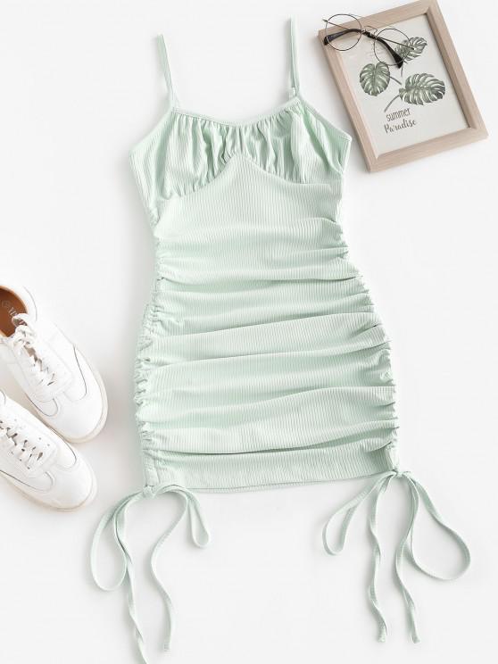ZAFUL Enrugado Rib-knit Vestido Bodycon - Verde M