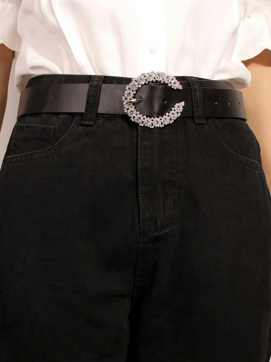 C-shaped Diamante Buckle Belt - أسود