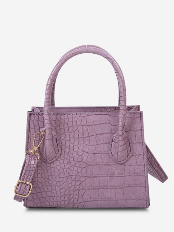 fancy Textured Solid Square Handbag - WISTERIA PURPLE