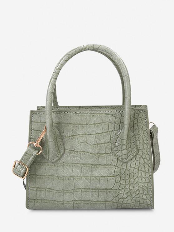 Strukturierte Feste Quadratische Handtasche - Dunkles Meergrün