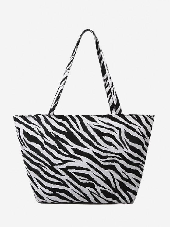 affordable Zebra Print Large Capacity Canvas Tote Bag - BLACK