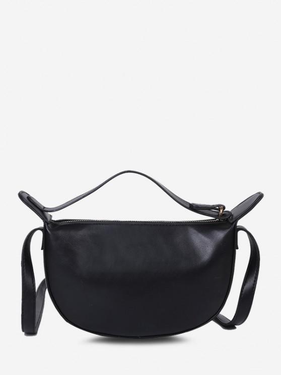 women's Solid Dual Strap Crossbody Bag - BLACK
