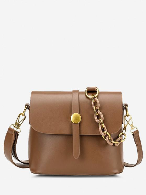 online Solid Double Strap Flap Crossbody Bag - LIGHT BROWN