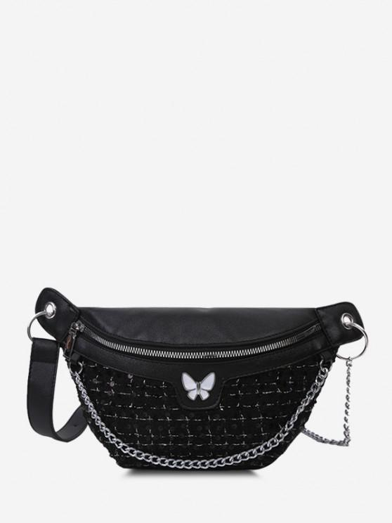 latest Butterfly Tweed Spliced Sequin Bum Bag - BLACK