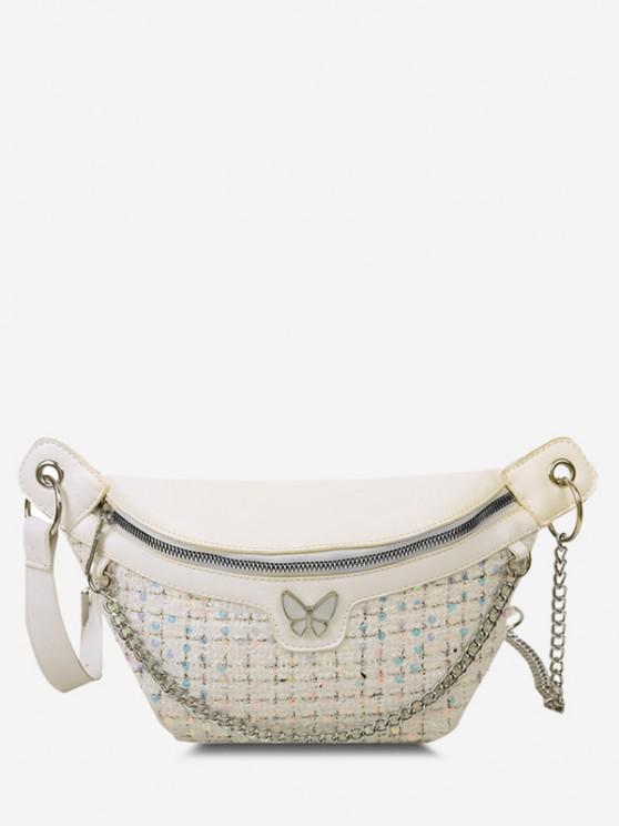 trendy Butterfly Tweed Spliced Sequin Bum Bag - MILK WHITE