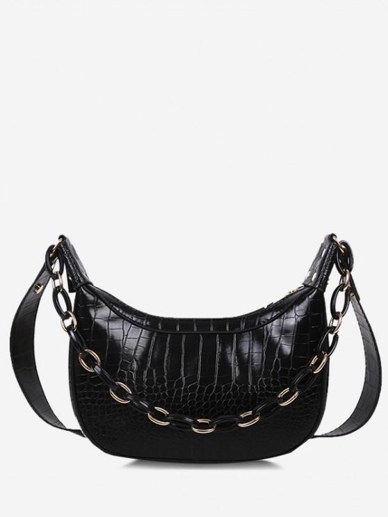 fashion Chain Textured Crossbody Bag - BLACK